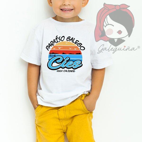 Camiseta paraíso galego para nenos
