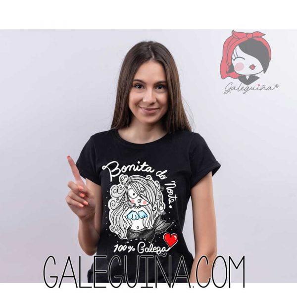 Camiseta bonita do norte rapaza cor negro
